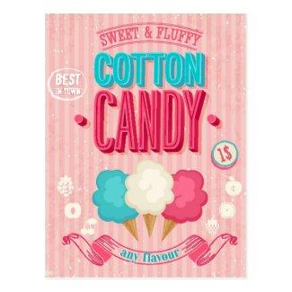 Vintage Cotton Candy Poster Postcard