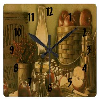 Vintage Country Apple Basket Print Clock