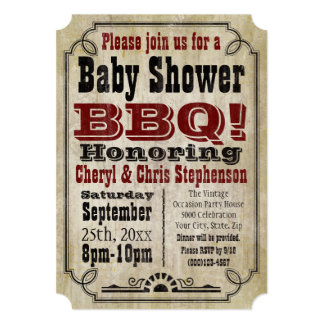 Vintage Country Baby Shower BBQ Barbeque Baby-Q Card