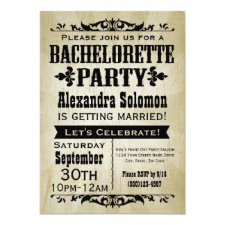 Vintage Country Bachelorette Party Invitation
