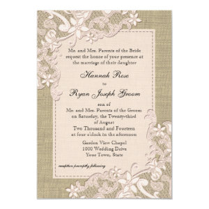 Vintage Country Blush Lace Design and Burlap 5x7 Paper Invitation Card