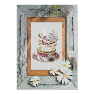 Vintage Country Bridal Shower Tea Party Invitation