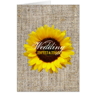 vintage country burlap  yellow sunflower wedding card