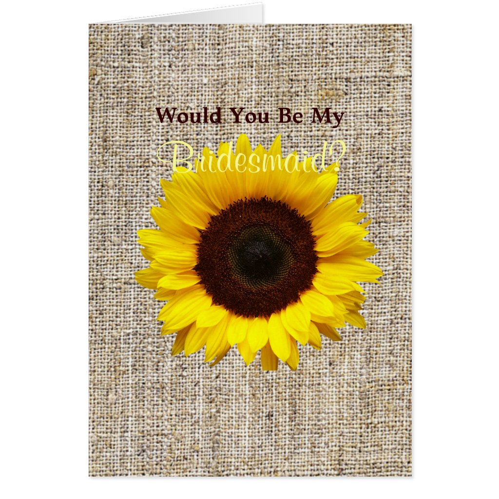 vintage country burlap yellow sunflower wedding Card