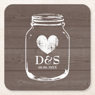 Vintage country chic mason jar wedding coasters