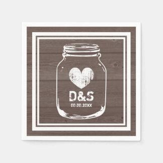 Vintage country chic mason jar wedding napkins