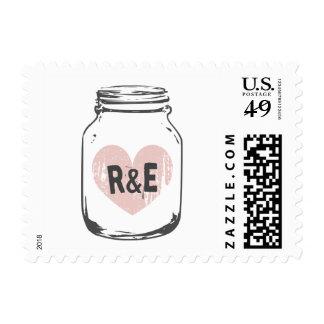 Vintage country chic mason jar wedding stamp