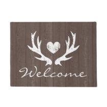 Vintage country chic rustic deer antler door mat