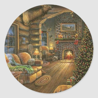 Vintage Country Christmas Cabin Classic Round Sticker