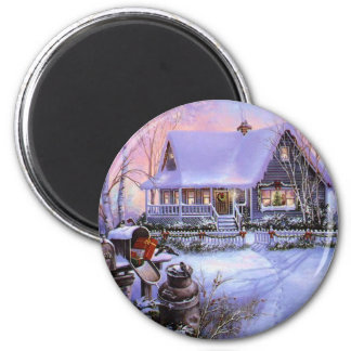 Vintage Country Christmas Cabin Magnet