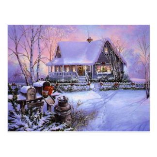 Vintage Country Christmas Cabin Postcard