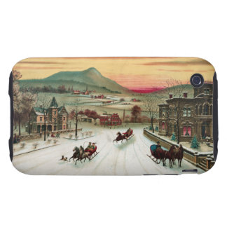 Vintage Country Christmas Scene iPhone 3 Tough Case
