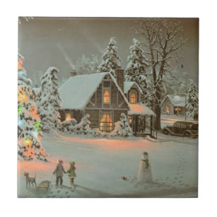 Vintage Country Christmas Scene Ceramic Tile