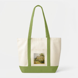 Vintage Country Cottage and Children Fashion Tote Bag