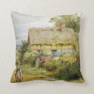 Vintage Country Cottage and Children Pillow Throw Pillow