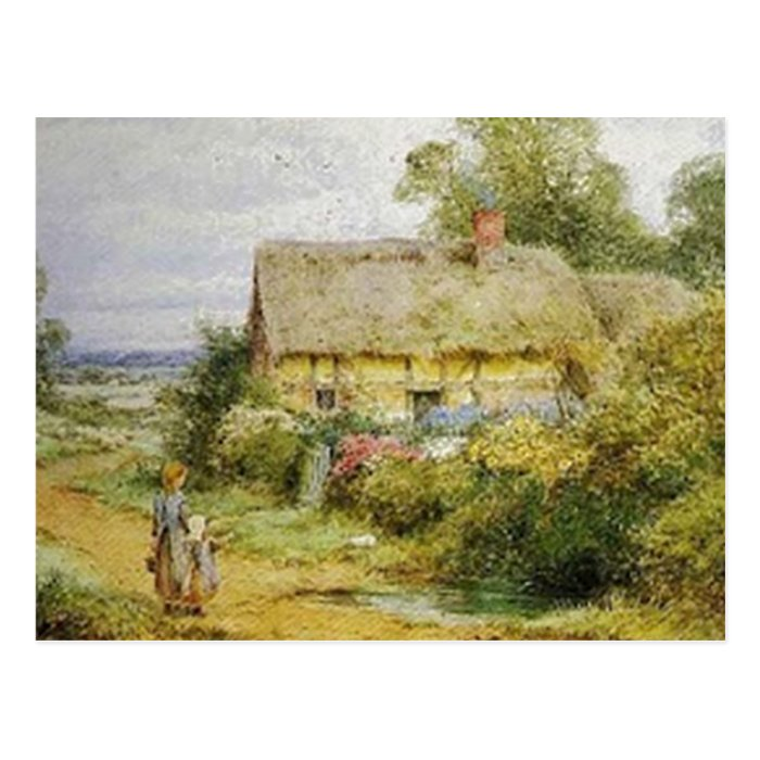 Vintage Country Cottage and Children Postcard