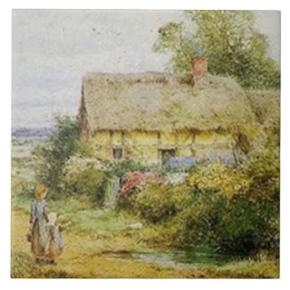 Vintage Country Cottage and Children Tile