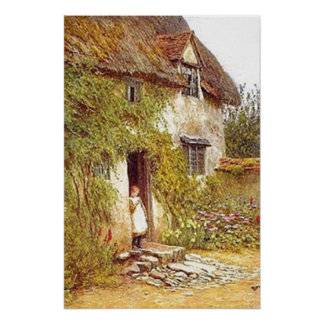 Vintage Country Cottage Girl Standing in Doorway Poster
