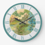 Vintage Country Cottage Scene Blue Border Large Clock