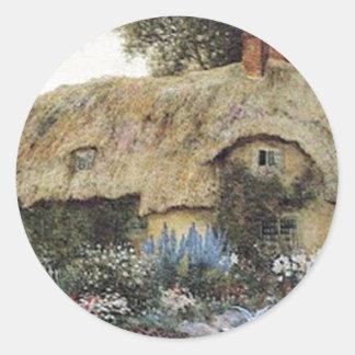 Vintage Country Cottage with Flower Garden Classic Round Sticker