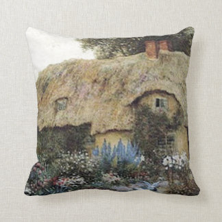 Vintage Country Cottage with Flower Garden Pillow Throw Pillows