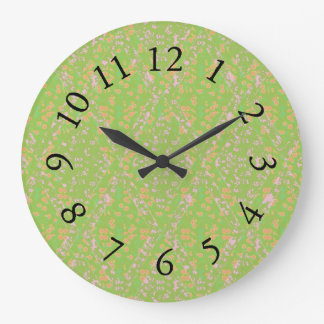 Vintage-Country-Cotton_Apple Green*_Floral Large Clock