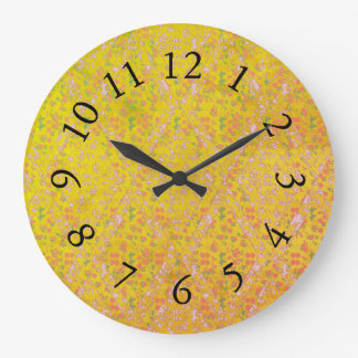 Vintage-Country-Cotton_Yellow_Floral Large Clock