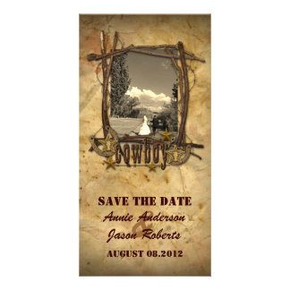 Vintage country cowboy wedding photocard photo card template