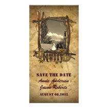 Vintage country cowboy wedding  photocard card