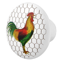 Vintage Country Farm Chicken Wire Rooster Ceramic Knob