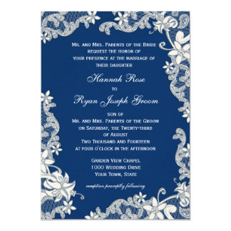 Vintage Country Floral Blue Changeable Color Announcements
