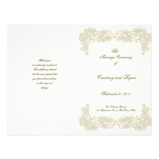 Vintage Country Floral Lace Wedding Program