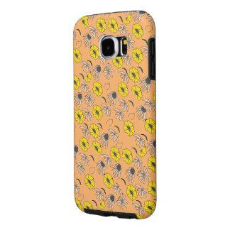 Vintage country floral melange orange yellow black samsung galaxy s6 cases