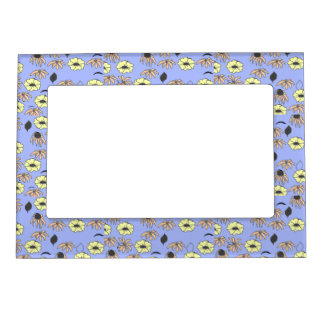 Vintage Country Floral mélange pale blue yellow Magnetic Photo Frame