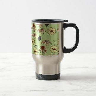 Vintage Country Floral melange pale green yellows Travel Mug
