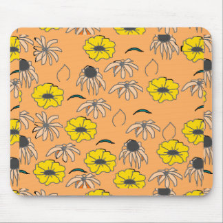 Vintage Country Floral Melange pale orange yellow Mouse Pad