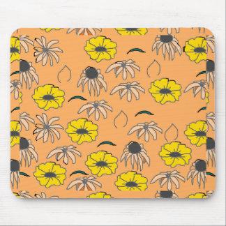 Vintage Country Floral Melange pale orange yellow Mouse Pad