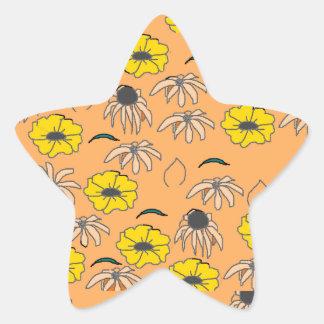 Vintage Country Floral Melange pale orange yellow Star Sticker