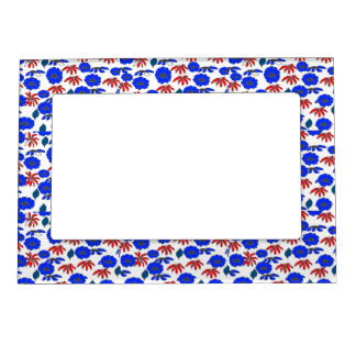 Vintage Country Floral mélange red white blue Picture Frame Magnets