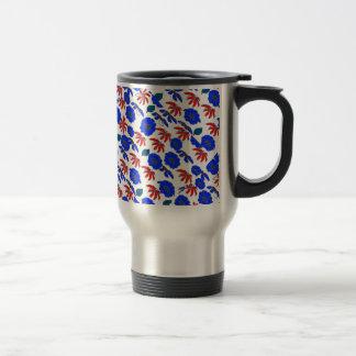 Vintage Country Floral mélange red white blue Travel Mug