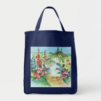 Vintage Country Flower Garden Reusable Navy Blue Tote Bag