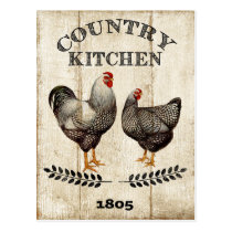 Vintage Country Kitchen Rooster Chicken postcard