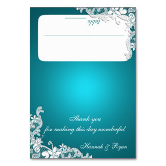 Vintage Country Lace Aqua Seating Card