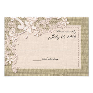 Vintage Country Lace Design and Burlap Blush Invitations