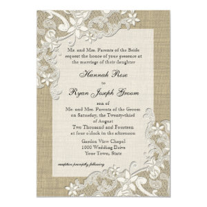 Vintage Country Lace Design and Burlap 5x7 Paper Invitation Card