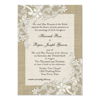"""Vintage Country Lace Design and Burlap 5"""" X 7"""" Invitation Card"""