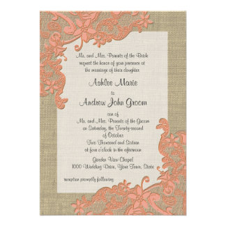 Vintage Country Lace Design Coral Personalized Invite