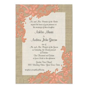 Vintage Country Lace Design Coral 5x7 Paper Invitation Card