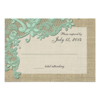 Vintage Country Lace Design Mint Green Announcements