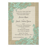 Vintage Country Lace Design Mint Green Personalized Announcement